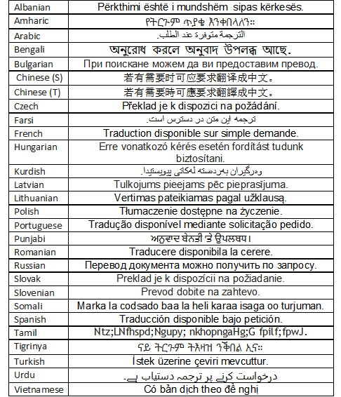 languages available for translation